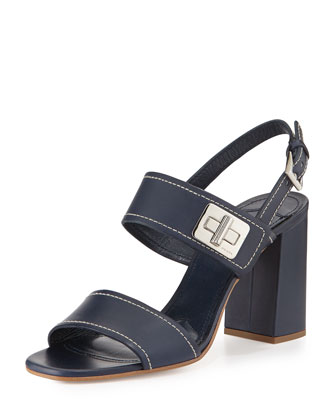 Leather Turnlock Slingback Sandal, Baltico