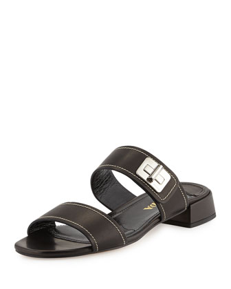 Leather Turn-Lock Slide Sandal, Nero