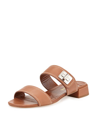 Leather Turnlock Slide Sandal, Brandy