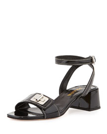 Patent Turnlock Ankle-Wrap Sandal, Black