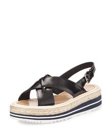 Spazzolato Slingback Sandal, Black