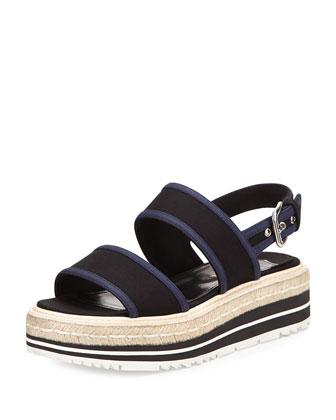 Gabardine Bicolor Espadrille Sandal, Nero Baltico