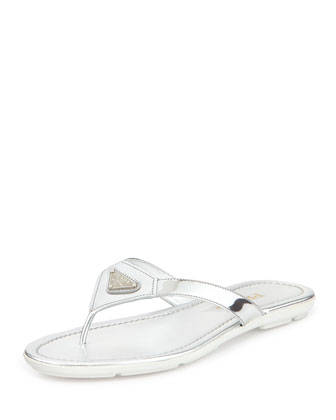 Patent Leather Logo Thong Sandal, Argento