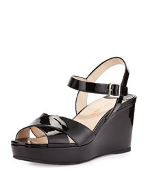 Patent Ankle-Strap Wedge Sandal, Nero