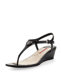 Patent Leather Thong Demi-Wedge Sandal, Nero
