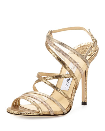 Visby Metallic Crisscross Sandal, Metallic Mix