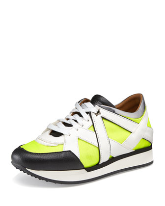 London Lace-Up Sneaker, Acid Yellow/White
