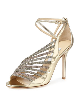 Florry Asymmetric Strappy Sandal, Gold Mix