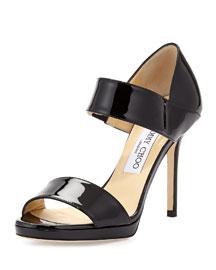 Alana Patent Double-Band Sandal, Black
