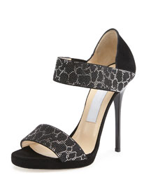 Lee Studded Double-Band Sandal, Black/Silver