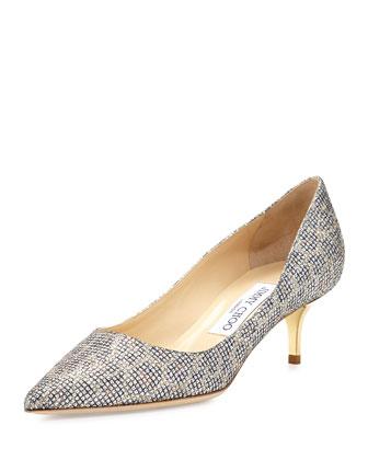 Aza Glitter Kitten-Heel Pump, Champagne