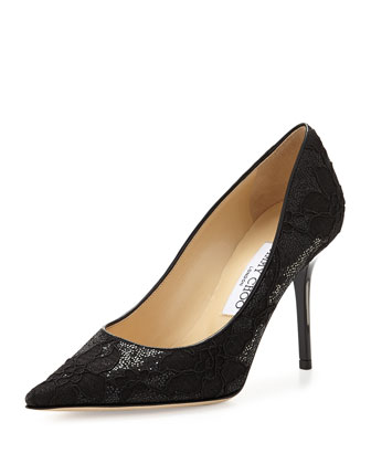 Agnes Glitter Lace Pump, Black