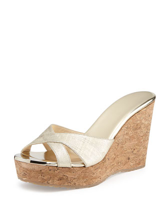 Perfume Textured Wedge Slide Sandal, Gold