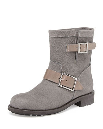 Youth Pebbled Biker Boot, Musk
