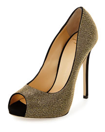 Nailhead Studded Peep-Toe Pump, Nero