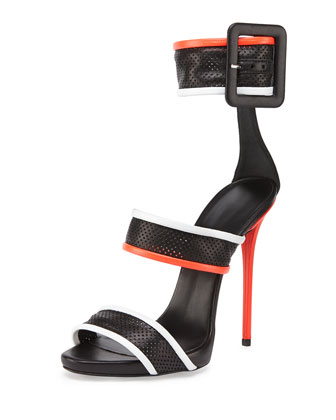 Leather Mesh Triple-Strap Sandal