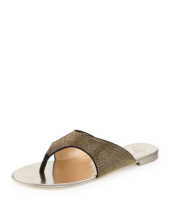 Micro-Studded Flat Suede Thong Sandal
