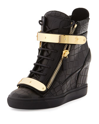 Crocodile-Embossed Wedge Sneaker, Nero