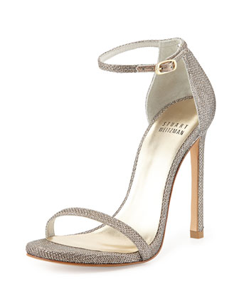 Nudist Metallic Ankle-Strap Sandal, Platinum/Noir