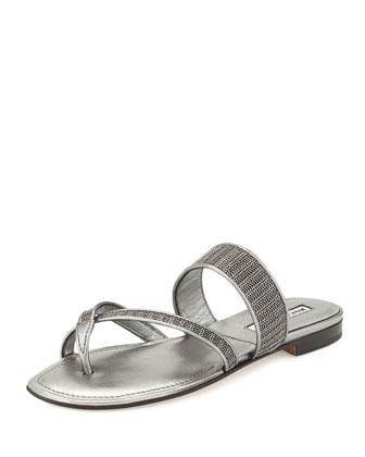 Susametal Woven Thong Sandal, Iron Silver