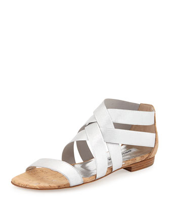 Leoni Metallic Elastic Cork Sandal, Silver