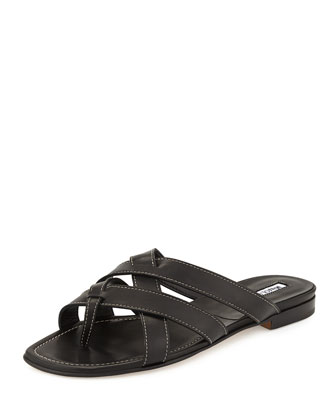 Lascia Woven Leather Thong Sandal, Black