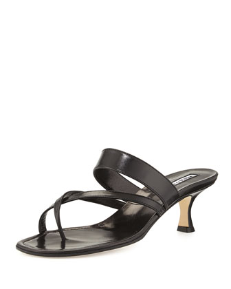 Susa Low-Heel Thong Slide Sandal, Black