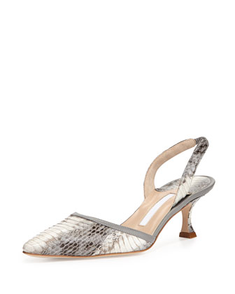 Carolyne Low-Heel Snake Pump, Gray