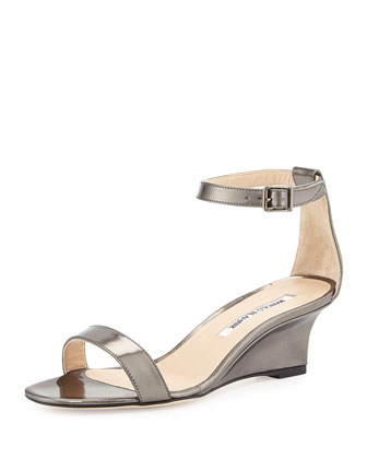 Valere Metallic Demi-Wedge Sandal, Anthracite