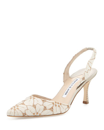 Carolyne Embroidered-Linen Mid-Heel Halter