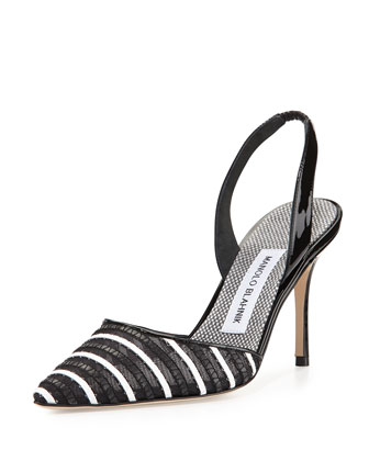 Fabio Striped Patent Leather Slingback Pump, Black
