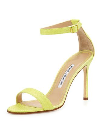 Chaos Snakeskin Ankle-Strap Sandal, Lime