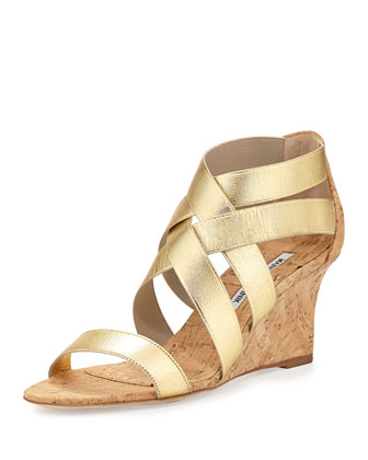 Glassa Strappy Cork Wedge Sandal, Gold