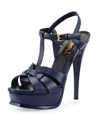 Tribute Leather Platform Sandal, Bleu