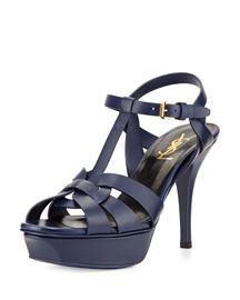 Tribute Leather Mid-Heel Sandal, Sea Blue