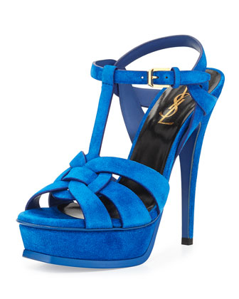 Tribute Suede Platform Sandal, Blue Electric