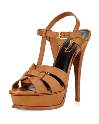Tribute Leather Platform Sandal, Bronze