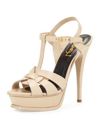 Tribute Leather Platform Sandal, Poudre