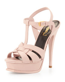 Tribute Heel Patent Leather Platform Sandal, Light Rose