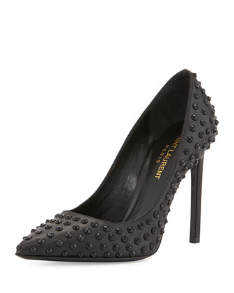 Paris Spiked Leather Pump, Noir