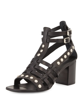 Leather Stud Caged-Front Sandal, Noir