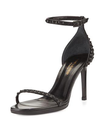 Studded Leather Ankle-Wrap Sandal, Noir