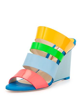 Brooke Patent Multi-Strap Wedge Sandal, Blue/Multi