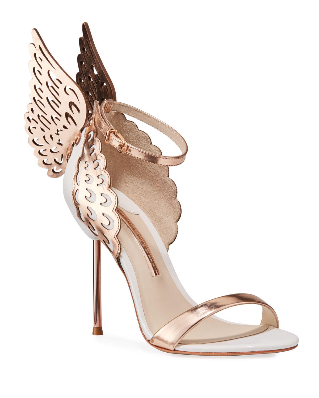 Sophia Webster Evangeline Angel Wing Sandal, Rose Gold/White, Women's, Size: 7.5B
