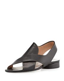 Leather Crisscross Slingback Sandal, Black