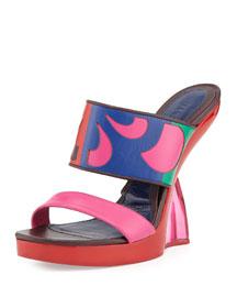 Double-Band Wedge Slide Sandal, Fuchsia/Pink