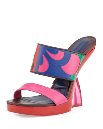 Double-Band Wedge Slide Sandal, Fuchsia/Pink