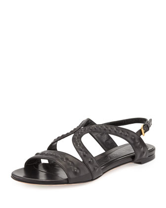 Covered-Stud Flat Butterfly Sandal, Black