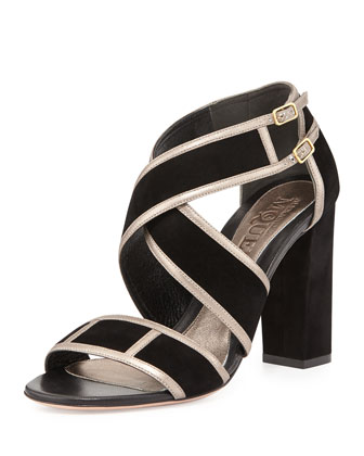 Crisscross Chunky-Heel Sandal, Black