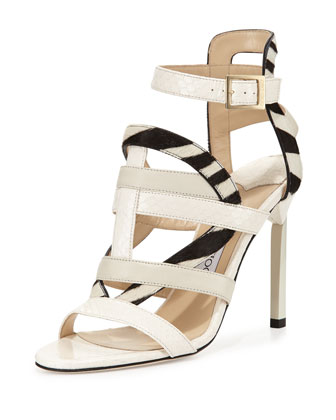 Varina Mixed-Media Strappy Sandal, White